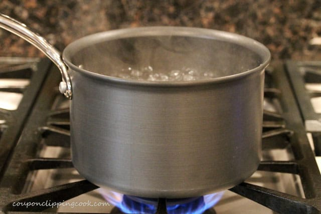 Boiling water in pot on stove top