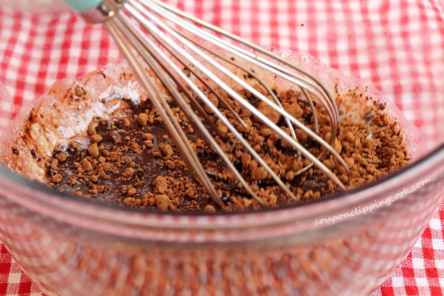 Stir cocoa powder in butter