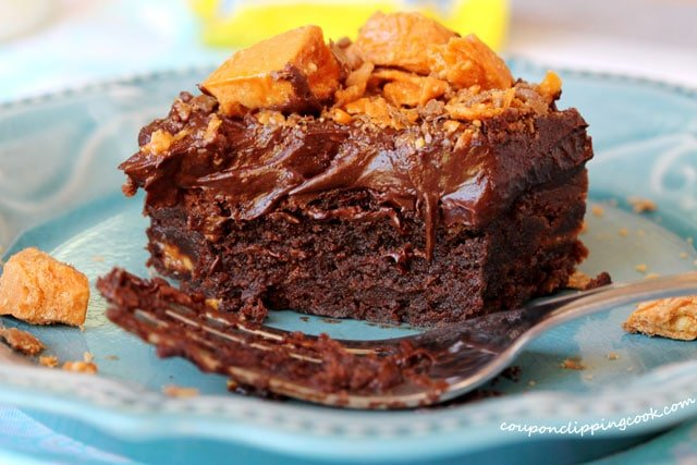 Butterfinger Chocolate Brownie on plate