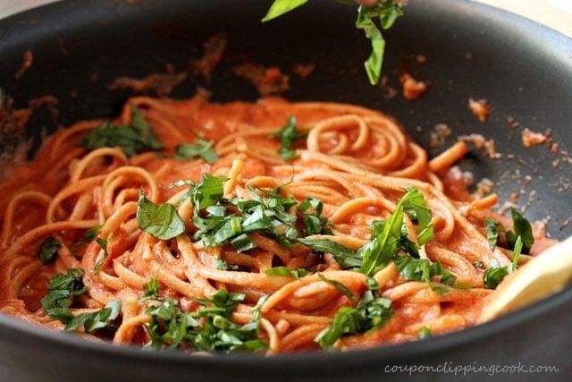 Linguine with Tomato Cream Sauce in pan