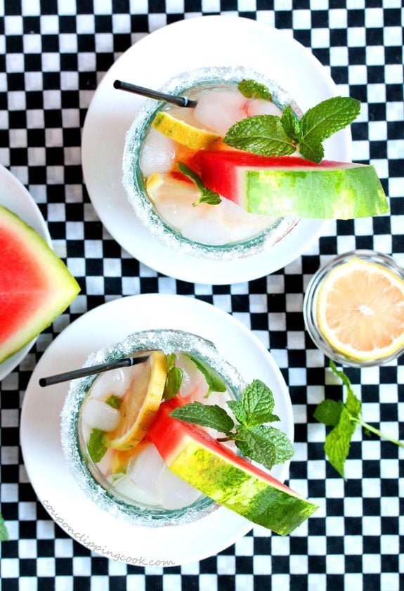 Watermelon Infused Lemon Mint Iced Green Tea in glasses