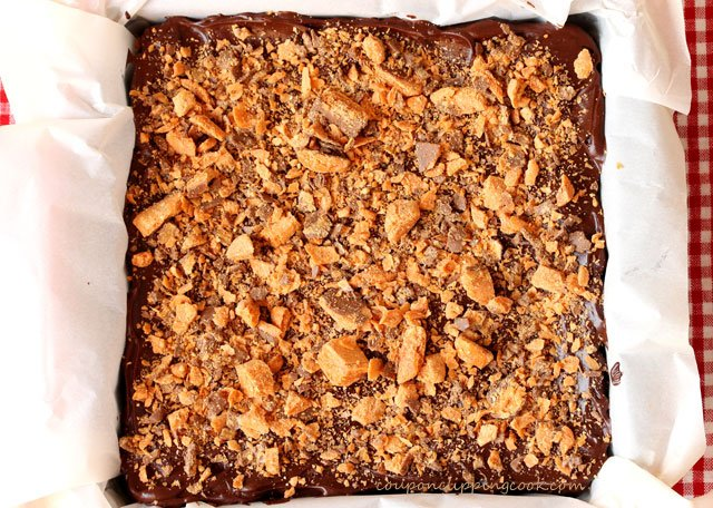 Butterfinger Candy on Brownies