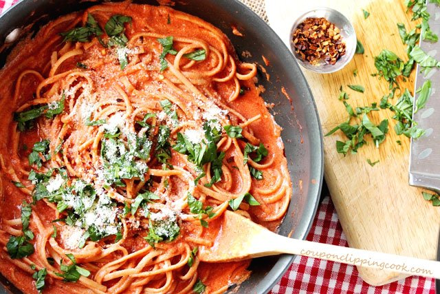 Linguine with Tomato Cream Sauce in pan