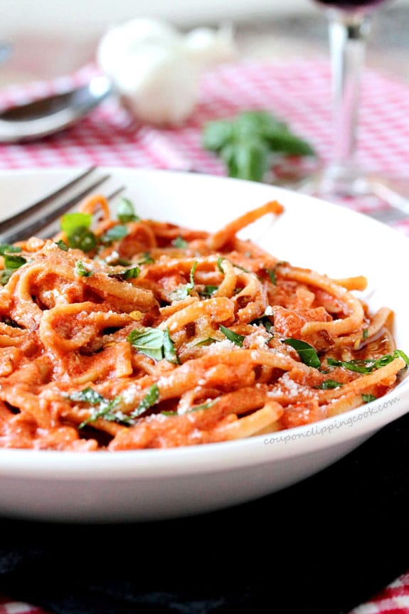 Linguine with Tomato Cream Sauce in bowl