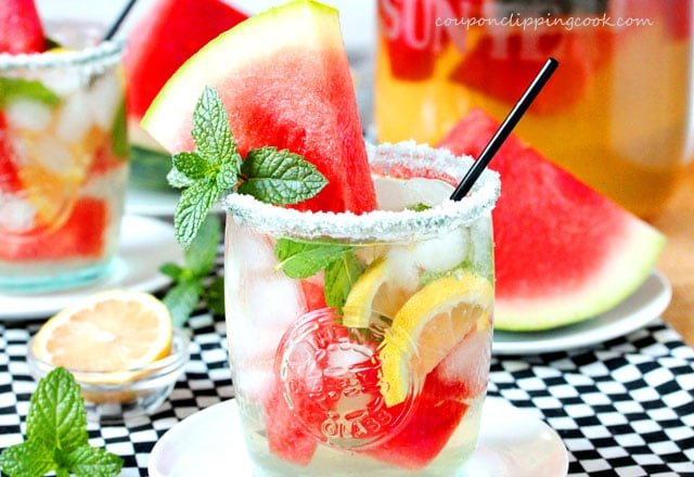 Watermelon Infused Lemon Mint Iced Green Tea in glass