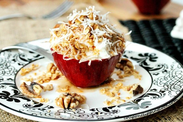Yogurt Apple Cups with Coconut on plate