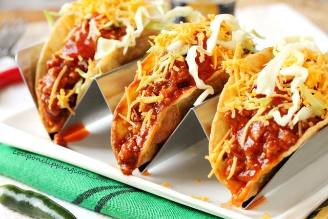 Slow Cooker Saucy Ground Taco Meat Filling in tacos