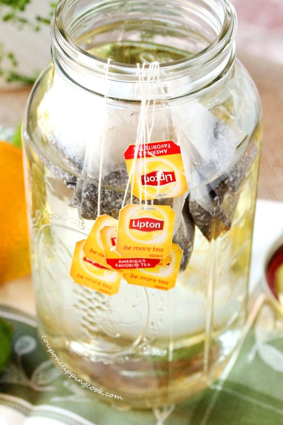 Tea bags in large jar of water