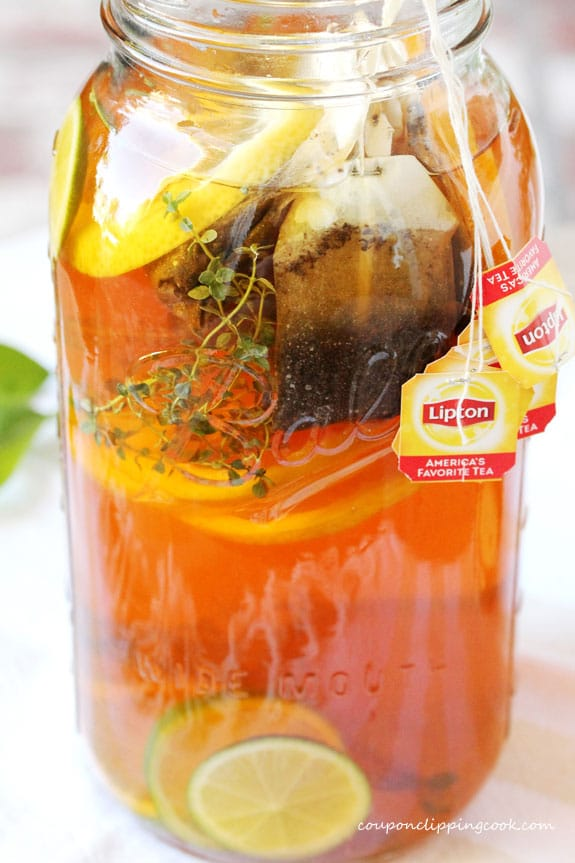 Honey Citrus and Thyme Iced Tea in pitcher