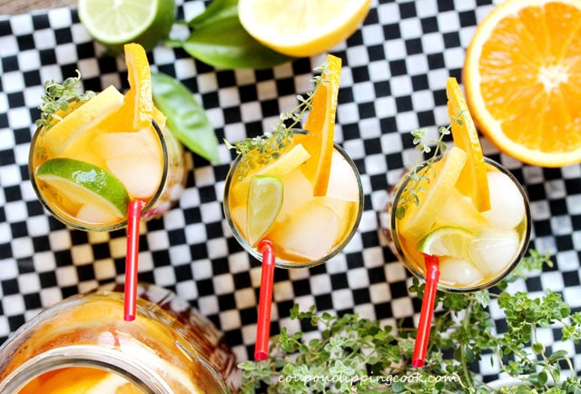 Honey Citrus and Thyme Iced Tea in glasses