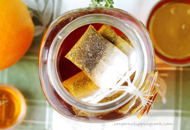 Tea bags in large pitcher of water
