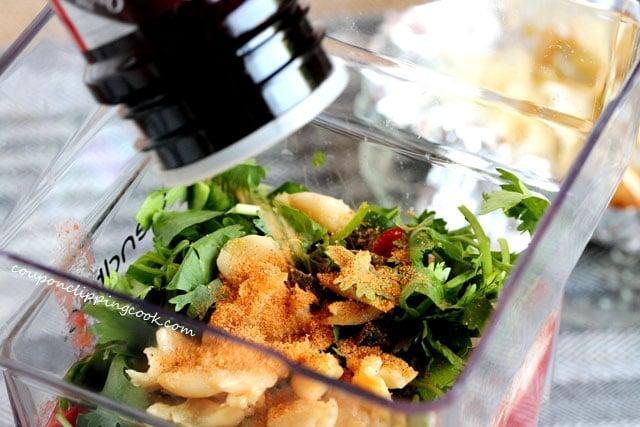 Pour seasoned salt in blender with salsa ingredients