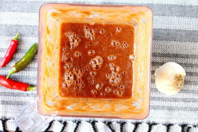 Roasted Garlic Tomato Salsa in blender