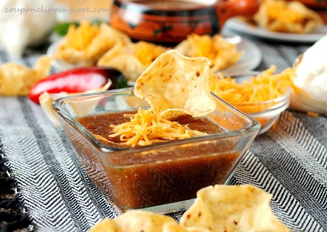 Roasted Garlic Tomato Salsa with Chips in bowl