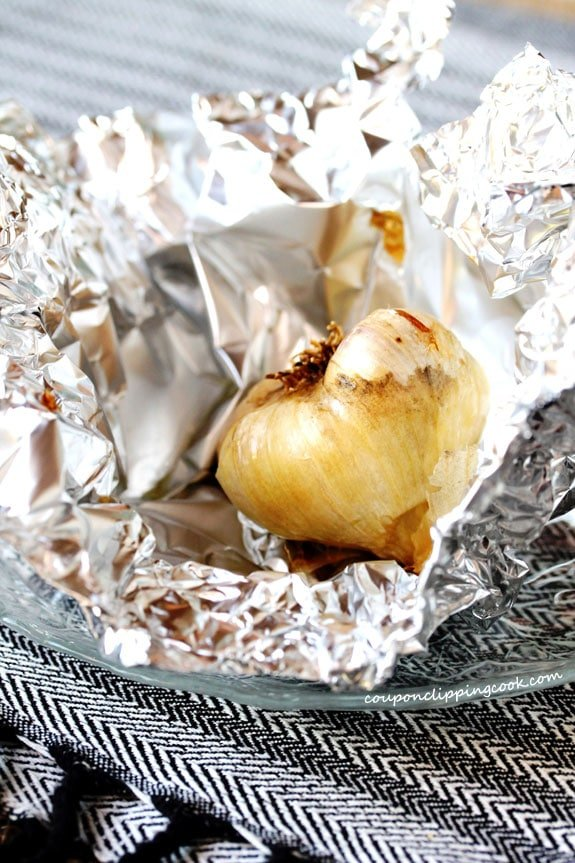 Roasted garlic in foil