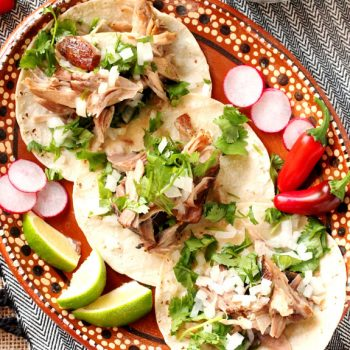 Pulled Pork Soft Tacos on Plate
