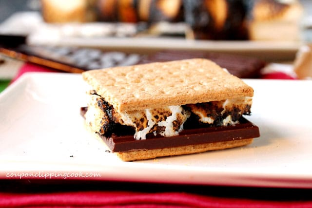 S'more on plate with graham crackers, toasted marshmallow and chocolate