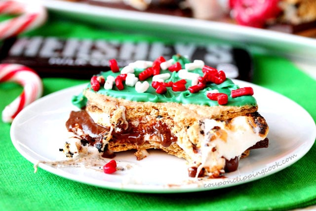 Bite of Christmas Decorated S'mores on Baking Pan