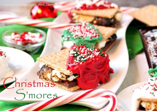Christmas Decorated S'mores on plate