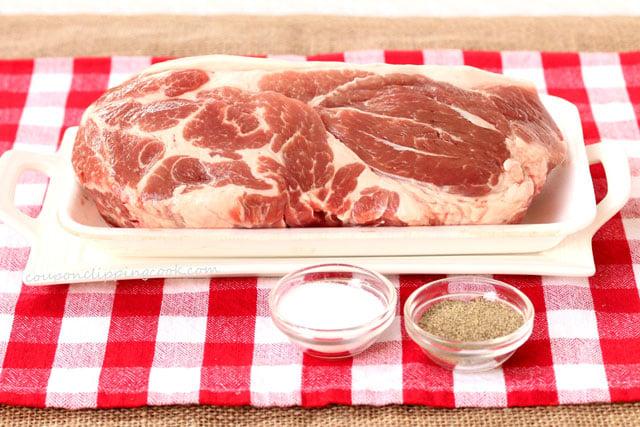 Slow Cooker 3-Ingredient Pulled Pork ingredients