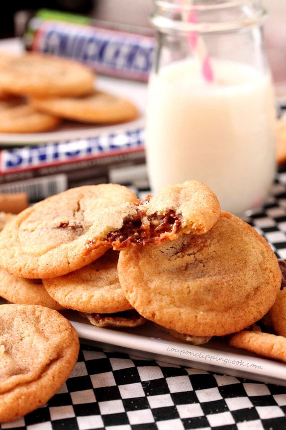 Snickers Snickerdoodle Cookies on plate with milk