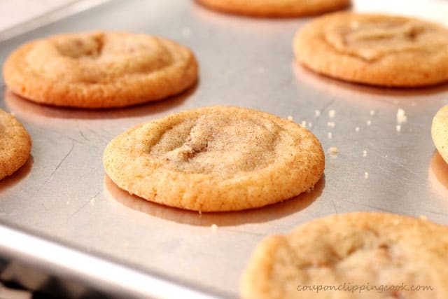 Snickers Snickerdoodle Cookies on baking pan