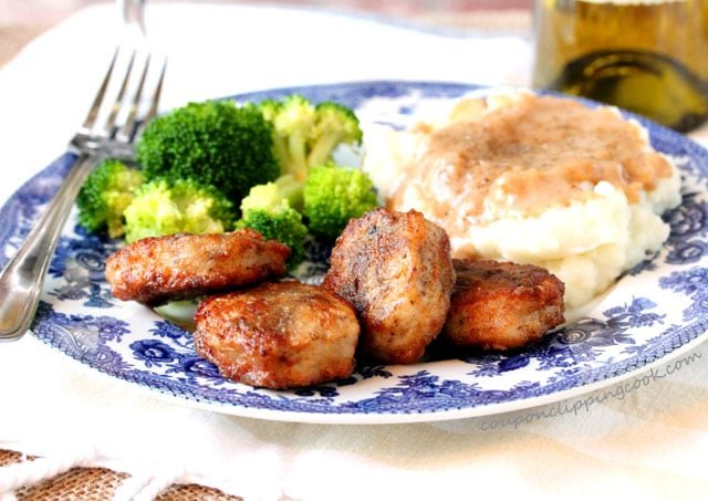 Chicken Fried Pork Medallions, Mashed Potatoes and Broccoli on plate