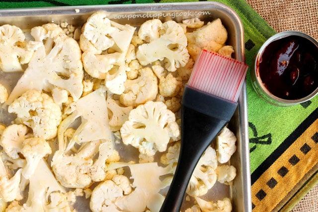 Cauliflower florets in baking pan