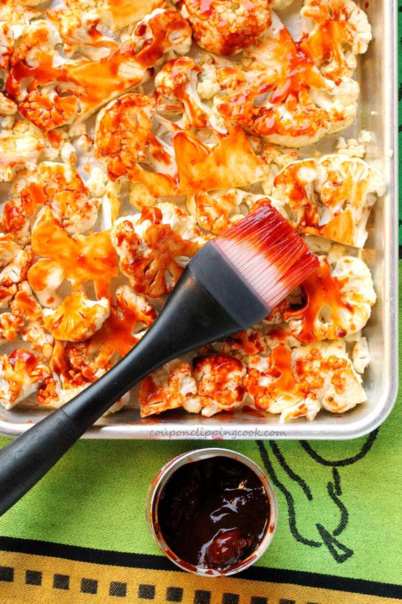 Brush cauliflower with adobo sauce