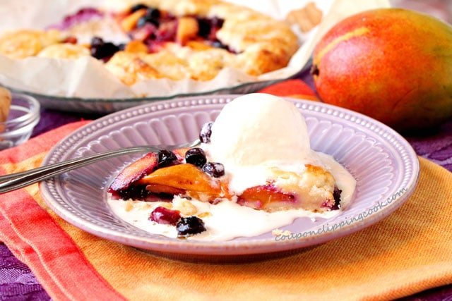 Mango Blueberry Galette with Ice Cream