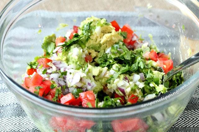 Guacamole ingredients in bowl
