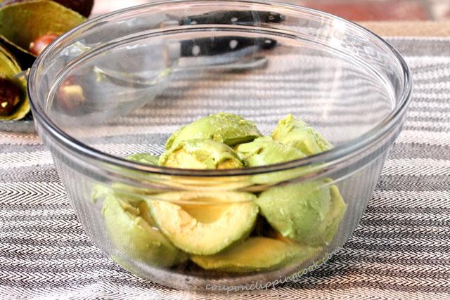 Avocado meat in bowl
