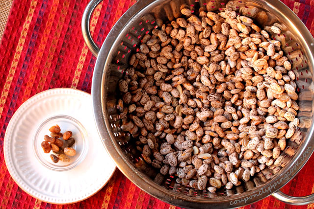 Pinto beans in colander