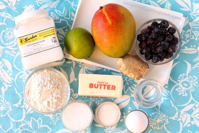 Mango, Blueberry and Ginger Galette ingredients