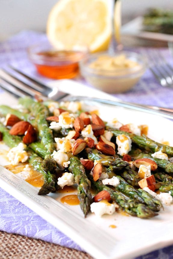 Honey Dijon Asparagus with Goat Cheese and Toasted Almonds