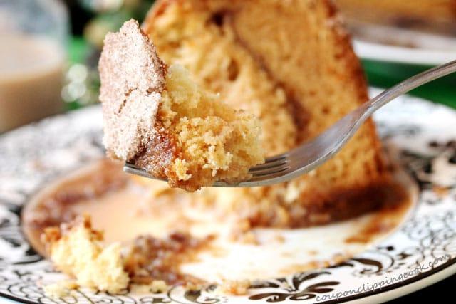 Sour Cream Coffee Cake with Irish Cream on fork