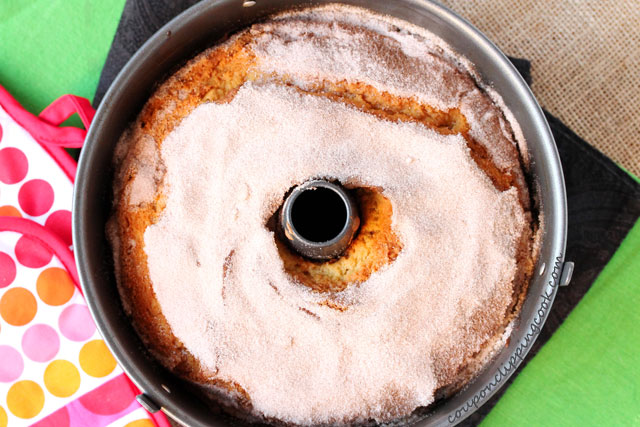 Sour Cream Coffee Cake with Irish Cream in bundt pan