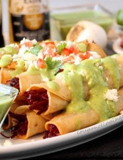 Corned Beef Taquitos Avocado Sauce