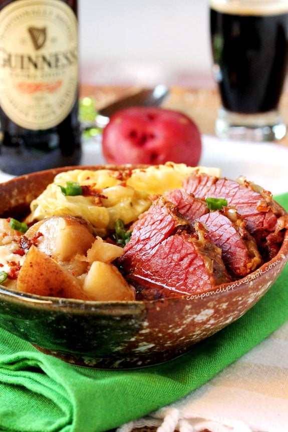 Guinness Corned Beef and Cabbage in bowl
