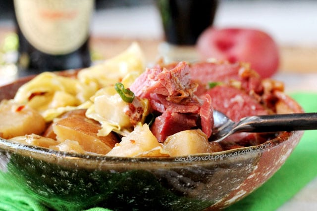 Slow Cooker Guinness Corned Beef and Cabbage in bowl