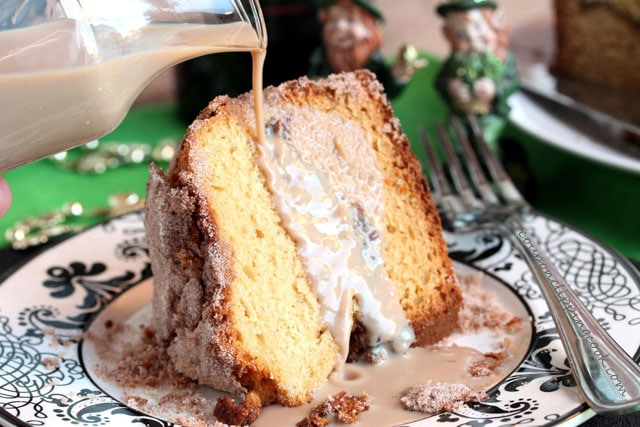 Pour Baileys on Slice of Coffee Cake