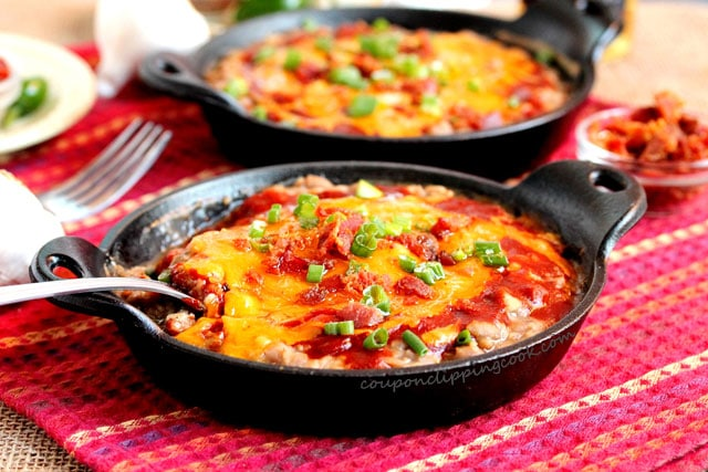 Slow Cooker Roasted Garlic Pinto Bean Mash with cheese in pans