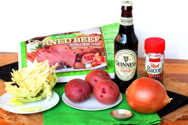 Slow Cooker Guinness Corned Beef and Cabbage ingredients