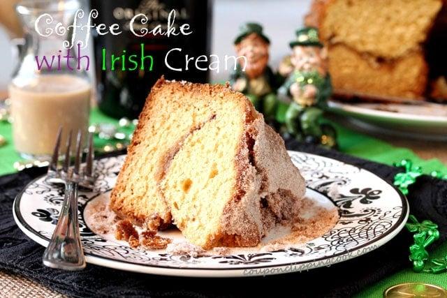 Sour Cream Coffee Cake with Irish Cream on plate