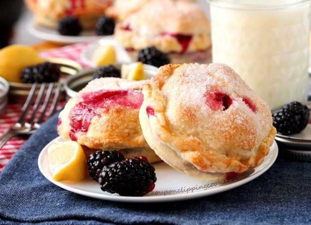 Blackberry and Lemon Mason Jar Lid Pies on plate