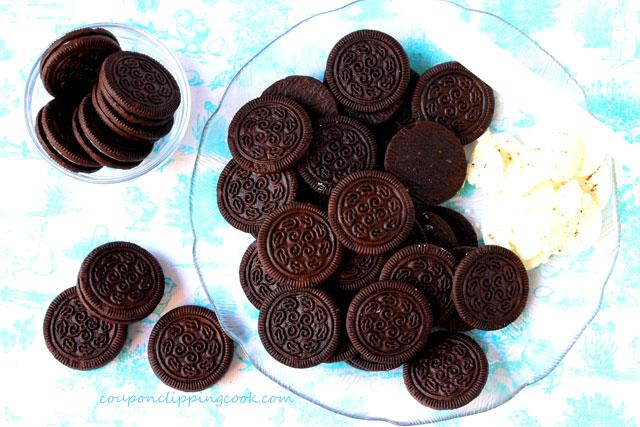 Chocolate sandwich cookies on plate