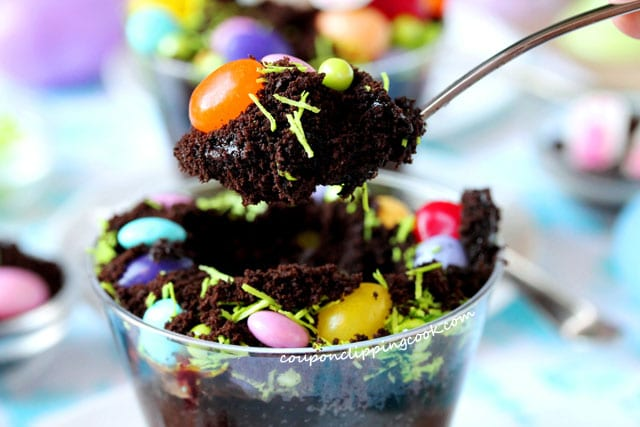 Spoon of Bunny Bottom Chocolate Dirt Cup Dessert in cup