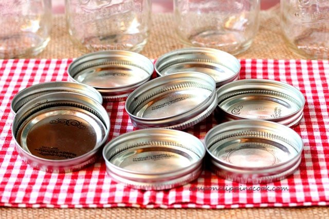 Mason jar lids on towel