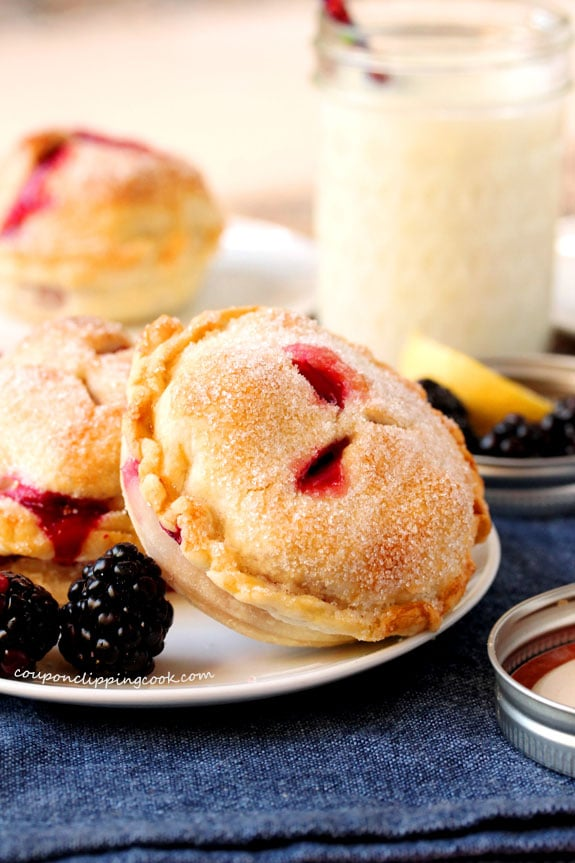 Blackberry and Lemon Mason Jar Lid Pies