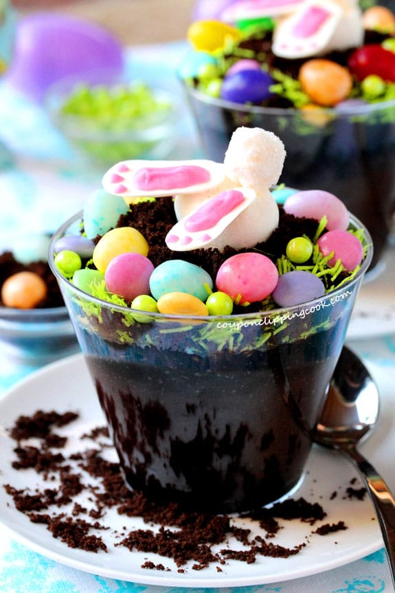 Bunny Bottom Chocolate Dirt Cup Dessert in cup